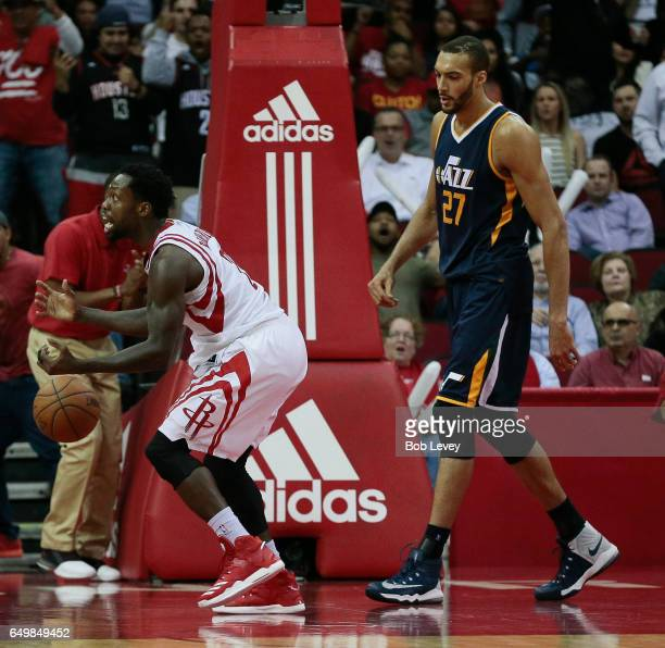 Patrick Beverley of the Houston Rockets reacts after he called for a blocking violation on Rudy Gobert of the Utah Jazz at Toyota Center on March 8...