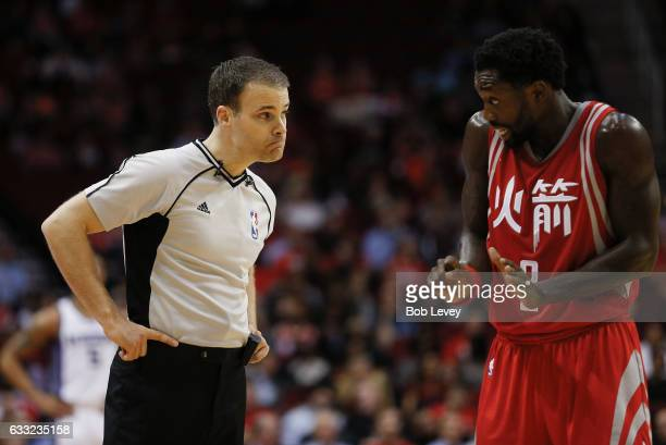 Patrick Beverley of the Houston Rockets talks with referee Mark Lindsay at Toyota Center on January 31, 2017 in Houston, Texas. NOTE TO USER: User...