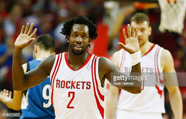 Patrick Beverley of the Houston Rockets walks to the bench during their game against the Minnesota Timberwolves at the Toyota Center on March 18 2016...