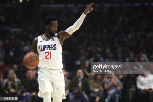 Patrick Beverley of the Los Angeles Clippers calls a play during the first half of a game against the Memphis Grizzlies at Staples Center on February...