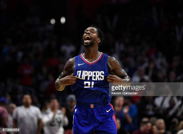 Patrick Beverley of the Los Angeles Clippers celebrates a turnover by the Miami Heat during the second half of the basketball game at Staples Center...