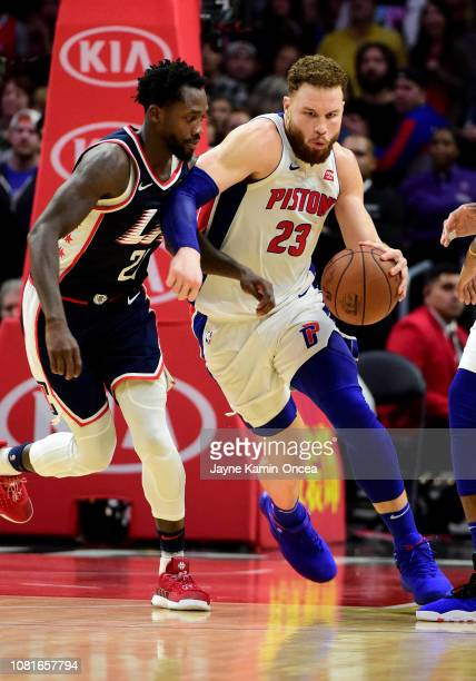 Patrick Beverley of the Los Angeles Clippers guards Blake Griffin of the Detroit Pistons as he takes the ball down court in the second half of the...