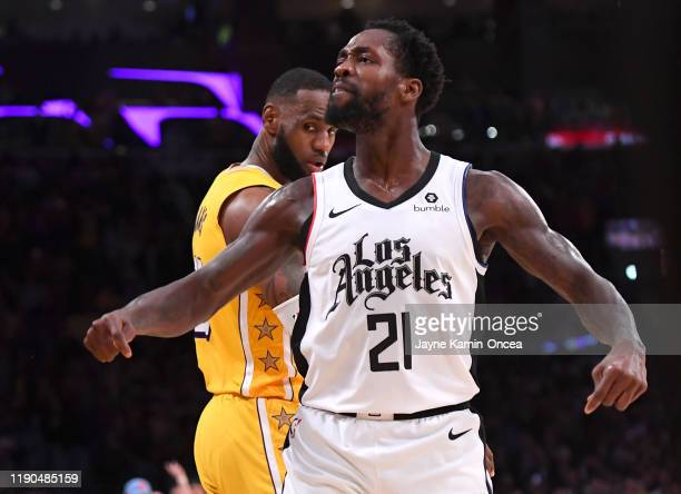 Patrick Beverley of the Los Angeles Clippers looks at the crowd after he blocked a shot by LeBron James of the Los Angeles Lakers in the second half...