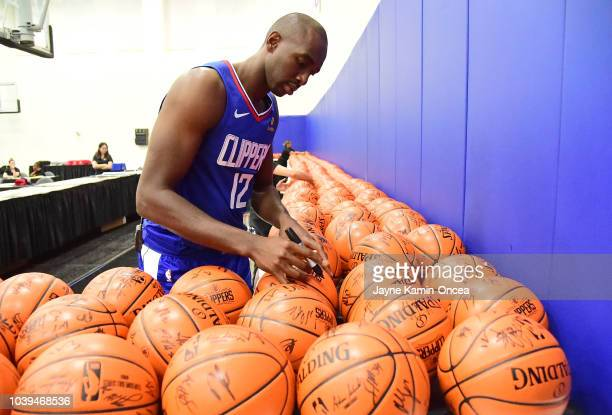 Patrick Beverley Shai GilgeousAlexander and Avery Bradley of the Los Angeles Clippers pose for photos on media day at the Los Angeles Clippers...