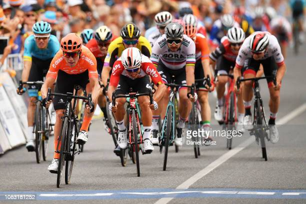 Patrick Bevin of New Zealand and CCC Team and Caleb Ewan of Australia and Team Lotto Soudal sprint for the final during two of the 2019 Tour Down...
