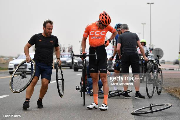 Patrick Bevin of New Zealand and CCC Team / Crash / Injury /during the 5th UAE Tour 2019 Stage 6 a 180km stage from Ajman to Jebel Jais 1475m /...
