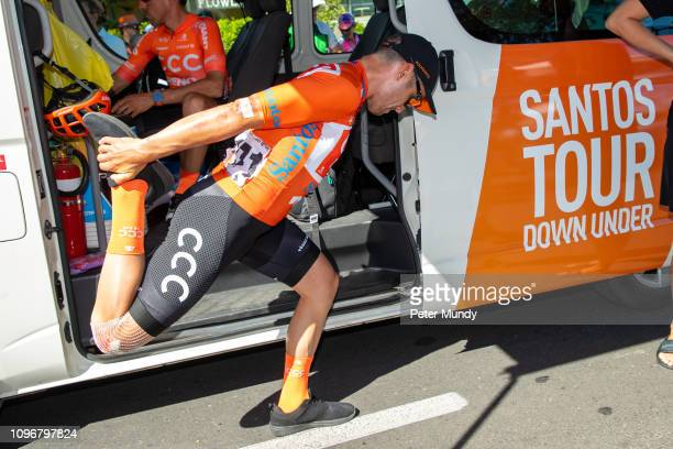 ADELAIDE AUSTRALIA JANUARY 20 Patrick Bevin of New Zealand and CCC Team had a bad crash at the end of Stage 5 but was fit to start Stage 6 from...