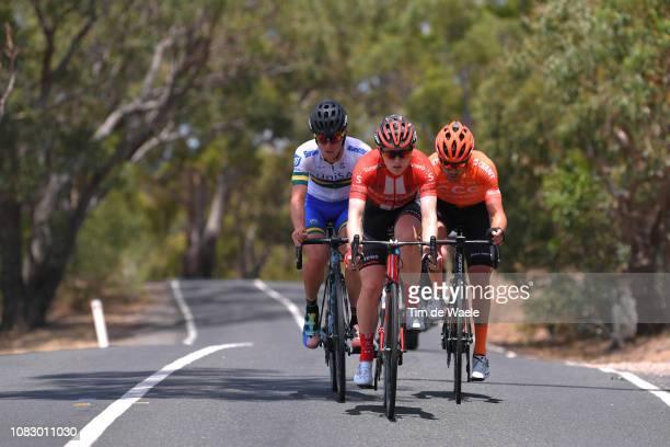Patrick Bevin of New Zealand and CCC Team / Michael Storer of Australia and Team Sunweb / Jason Lea of Australia and Team UniSA-Australia /during the...
