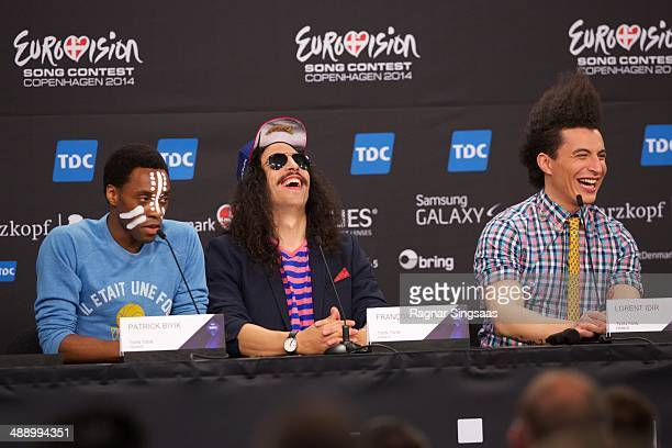 Patrick Biyik Francois Djemel and Lorent Idir of the group Twin Twin from France attend a press conference ahead of the Grand Final of the Eurovision...