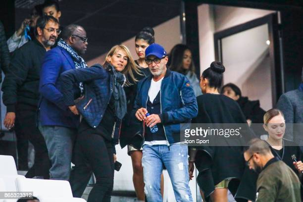 Patrick Boss and Nathalie Simon during the Ligue 1 match between Olympique Marseille and Paris Saint Germain at Stade Velodrome on October 22 2017 in...