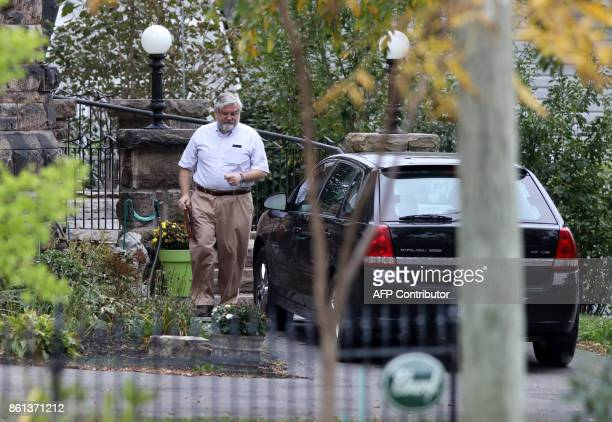 Patrick Boyle father of freed Canadian hostage Joshua Boyle walks outside his home in Smiths Falls Ontario Canada on October 14 2017 Joshua Boyle...