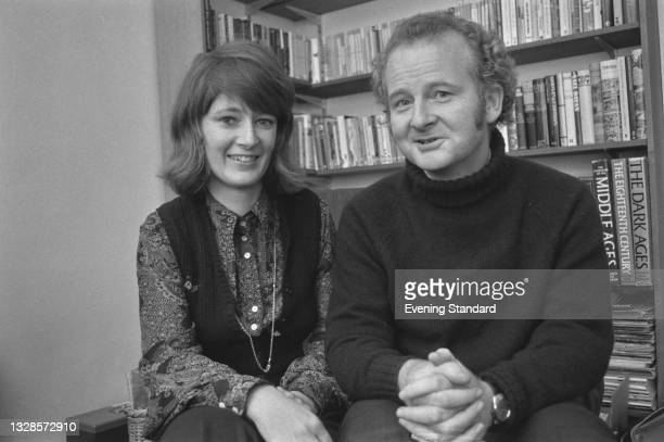 Patrick Boyle, Viscount Kelburn, later the 10th Earl of Glasgow, with his fiancée Isabel James, UK, 16th November 1974. They were married on 30th...