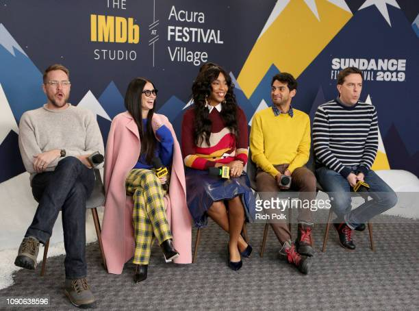 Patrick Brice Demi Moore Jessica Williams Karan Soni and Ed Helms of 'Corporate Animals' attend The IMDb Studio at Acura Festival Village on location...