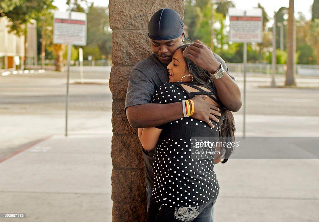Patrick Brown of Moreno Valley hugs his girlfriend Gigi Kaur