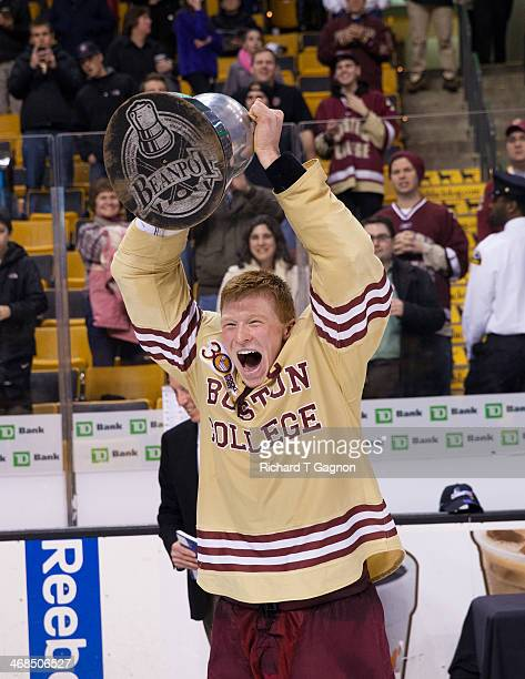 Patrick Brown of the Boston College Eagles celebrates after the Eagles beat the Northeastern University Huskies to win their fifth Beanpot...