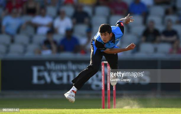 Patrick Brown of Worcestershire bowls during the Vitality Blast match between Lancashire Lighting and Worcestershire Rapids at Old Trafford on July 5...