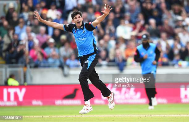 BIRMINGHAM ENGLAND SEPTEMBER Patrick Brown of Worcestershire celebrates getting a wicket during the Vitality Blast SemiFinal match between...