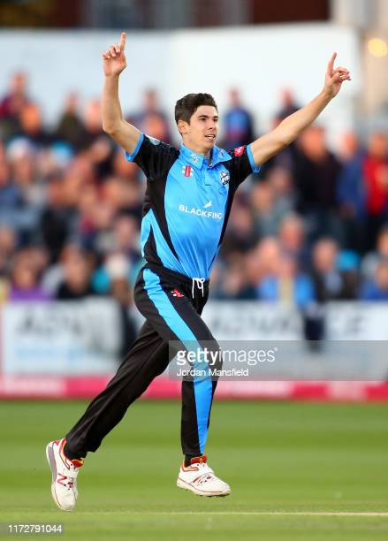Patrick Brown of Worcestershire Rapids appeals unsuccessfully during the Vitality T20 Blast QuarterFinal match between Sussex Sharks and...