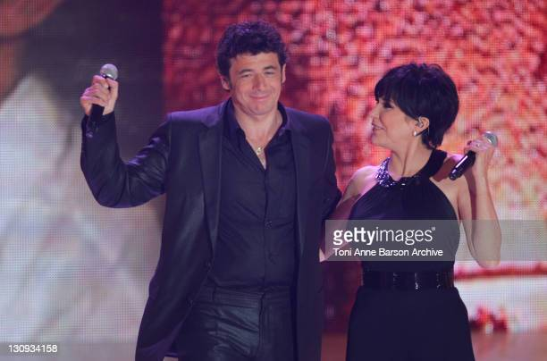 Patrick Bruel and Liane Foly during FRANCE2 Television Show 'Tenue de Soiree' Live from Cannes at Palm Beach in Cannes France