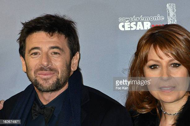 Patrick Bruel and Valerie Benguigui attend the Red Carpet Arrivals Cesar Film Awards 2013 at Theatre du Chatelet on February 22 2013 in Paris France