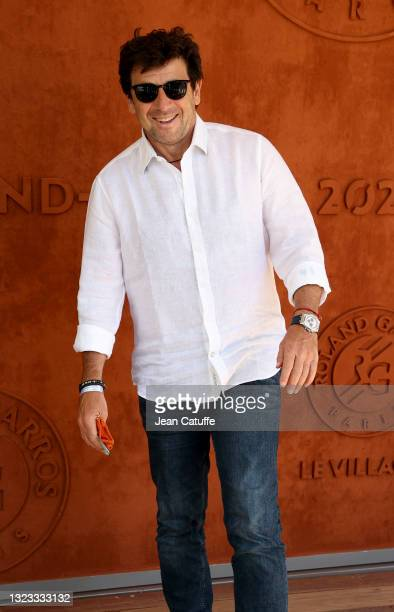 Patrick Bruel attends the Men's Singles Final during day 15 of the 2021 Roland-Garros, French Open, a Grand Slam tennis tournament at Roland-Garros...
