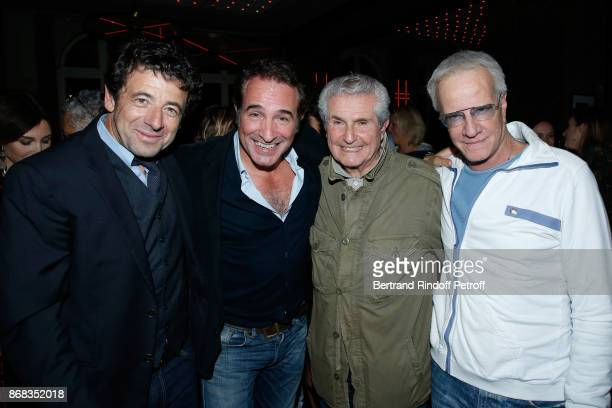 Patrick Bruel Jean Dujardin Claude lelouch and Christophe Lambert attend Claude Lelouch celebrates his 80th Birthday at Restaurant Victoria on...