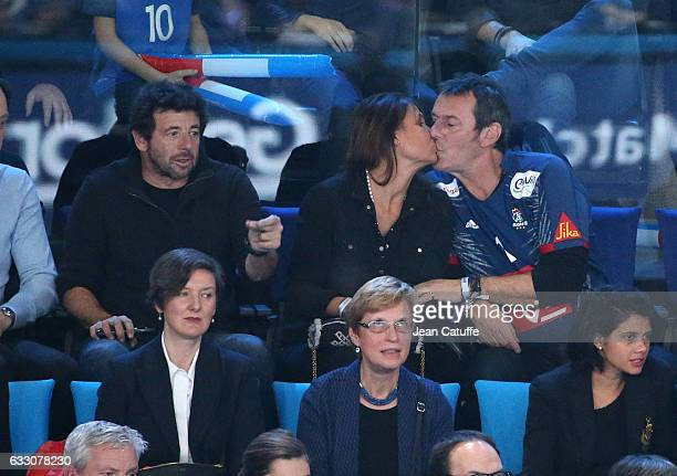 Patrick Bruel JeanLuc Reichmann and his wife attend the 25th IHF Men's World Championship 2017 Final between France and Norway at Accorhotels Arena...