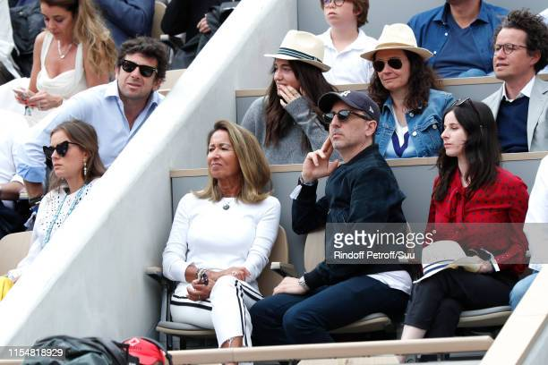 Patrick Bruel Nicole Coullier Gad Elmaleh and Sasha Spielberg attend the 2019 French Tennis Open Day Fifteen at Roland Garros on June 09 2019 in...