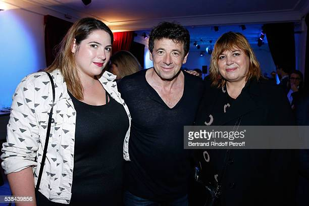 Patrick Bruel standing between actress Michele Bernier and her daughter Charlotte Gaccio pose after the Concert of Patrick Bruel at Theatre Du...