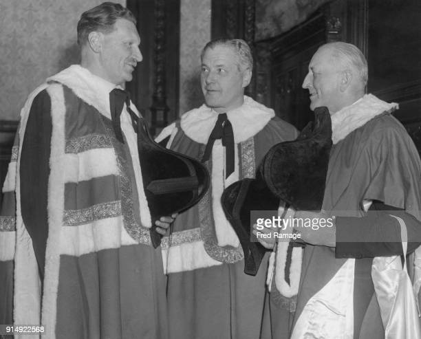 Patrick BuchanHepburn 1st Baron Hailes takes his seat in the House of Lords London accompanied by his sponsors Lord Glassary Earl of Dundee and Lord...