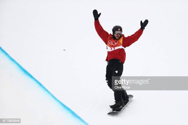 Patrick Burgener of Switzerland celebrates during the Snowboard Men's Halfpipe Final on day five of the PyeongChang 2018 Winter Olympics at Phoenix...