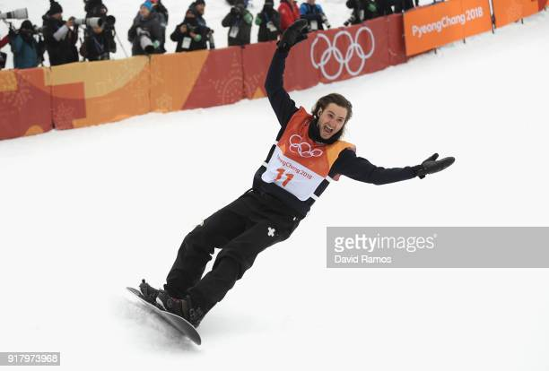 Patrick Burgener of Switzerland celebrats during the Snowboard Men's Halfpipe Final on day five of the PyeongChang 2018 Winter Olympics at Phoenix...
