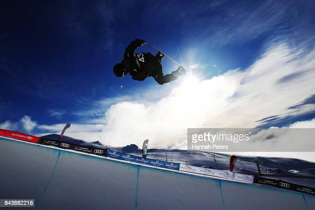 Patrick Burgener of Switzerland competes during the Winter Games NZ FIS Snowboard World Cup Halfpipe Finals at Cardrona Alpine Resort on September 8...
