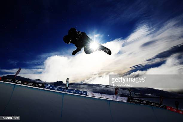 Patrick Burgener of Switzerland competes during the Winter Games NZ FIS Men's Snowboard World Cup Halfpipe Finals at Cardrona Alpine Resort on...