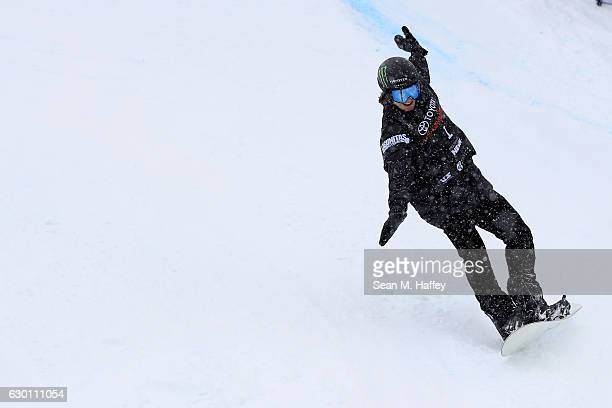 Patrick Burgener of Switzerland reacts after his last run in the final round of the FIS Snowboard World Cup 2017 Men's Snowboard Halfpipe during The...