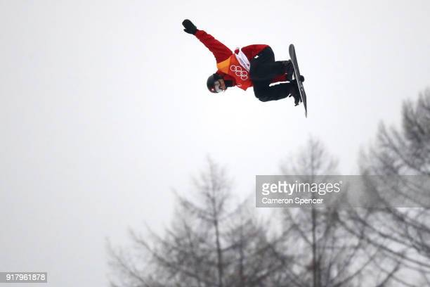 Patrick Burgener of Switzerland warms up ahead of the Snowboard Men's Halfpipe Final on day five of the PyeongChang 2018 Winter Olympics at Phoenix...