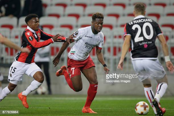 Patrick Burner of Nice Aaron Leya Iseka of Zulte Waregem Maxime Le Marchand of Nice during the UEFA Europa League match between Nice v Zulte Waregem...