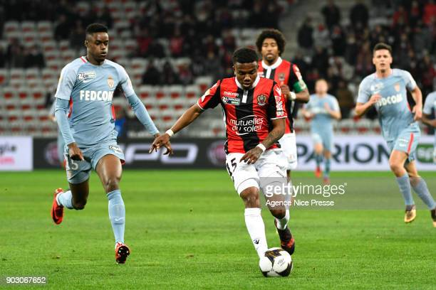 Patrick Burner of Nice and Adama Diakhaby of Monaco during the League Cup match between Nice and Monaco at Allianz Riviera Stadium on January 9 2018...
