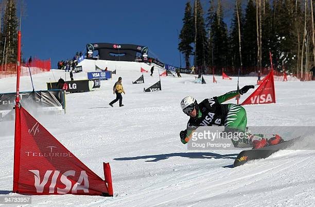 Patrick Bussler of Germany races in the FIS Snowboard Parallel Giant Slalom World Cup on December 17 2009 in Telluride Colorado