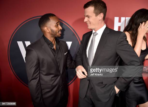 Patrick Cage and Jonathan Nolan attend the Los Angeles Season 2 premiere of the HBO Drama Series WESTWORLD at The Cinerama Dome on April 16 2018 in...