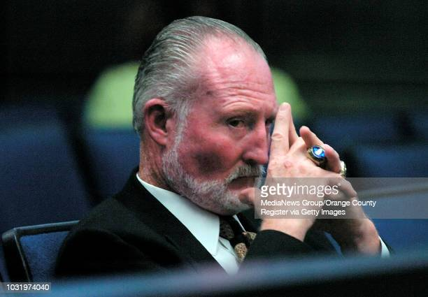 Patrick Callahan, an assistant football coach at Cerritos College, is arraigned in California Superior Court on August 30 in Bellflower, Calif....