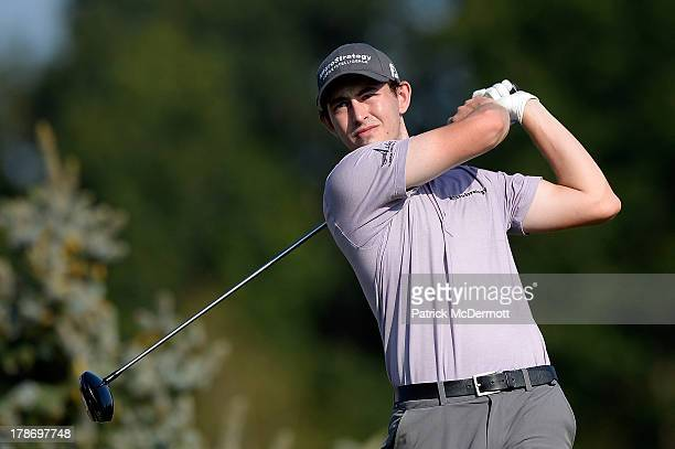 Patrick Cantlay hits his tee shot on the ninth hole during round two of the 2013 Hotel Fitness Championship at Sycamore Hills Golf Club on August 30...