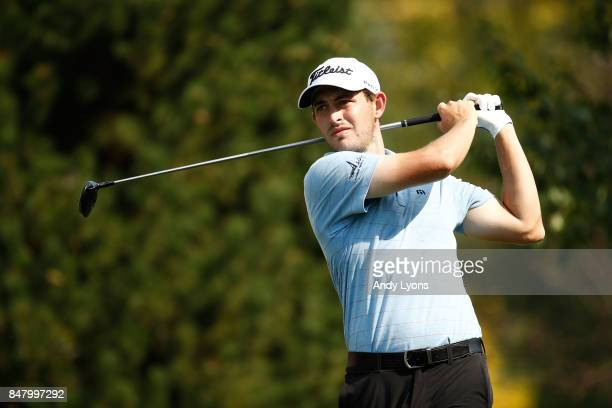 Patrick Cantlay hits his tee shot on the ninth hole during the third round of the BMW Championship at Conway Farms Golf Club on September 16 2017 in...