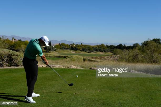 Patrick Cantlay hits his tee shot on the second hole during the final round of the Shriners Hospitals For Children Open at the TPC Summerlin on...