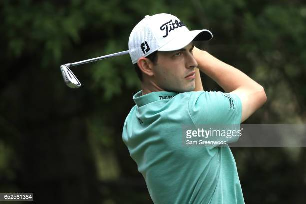 Patrick Cantlay hits off the third tee during the final round of the Valspar Championship at Innisbrook Resort Copperhead Course on March 12 2017 in...