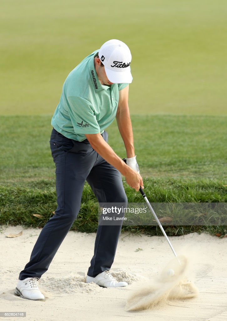 Patrick Cantlay hits out of a bunker on the 18th hole during the final round of the Valspar Championship at Innisbrook Resort Copperhead Course on March 12, 2017 in Palm Harbor, Florida.