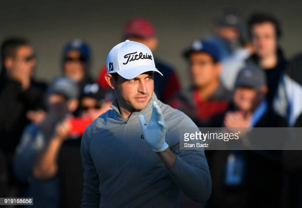 Patrick Cantlay is introduced on the the first tee during the second round of the Genesis Open at Riviera Country Club on February 16 2018 in Pacific...