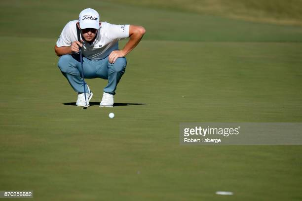 Patrick Cantlay lines up a putt on the 15th green during the third round of the Shriners Hospitals For Children Open at the TPC Summerlin on November...