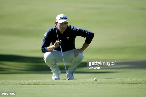 Patrick Cantlay lines up a putt on the 17th green during Round One of the ATT Pebble Beach ProAm at Monterey Peninsula Country Club on February 8...