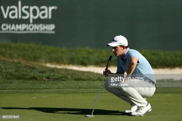 Patrick Cantlay lines up a putt on the 17th green during the third round of the Valspar Championship at Innisbrook Resort Copperhead Course on March...